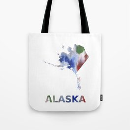 Alaska map outline Bright multicolored nebulous watercolor Tote Bag