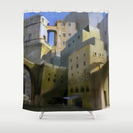 Mediterranean Town Shower Curtain