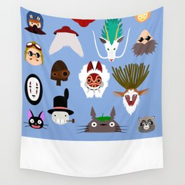 The many faces of Ghibli Wall Tapestry