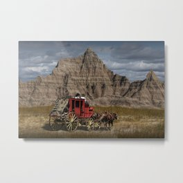 Traveling through the Badlands in a Western Stage Coach Metal Print