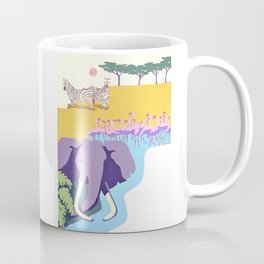 Poster with graphic african animals in strong colors Coffee Mug
