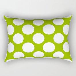 White & Apple Green Spring Polka Dot Pattern Rectangular Pillow