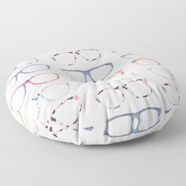 Bespectacled // Watercolor Glasses Print Floor Pillow