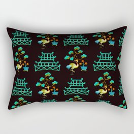 Asian Pagoda Garden Repeat in Verdigris and Onyx Rectangular Pillow