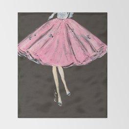 Jolie Pink Fashion Illustration Throw Blanket