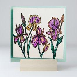 Iris with glitter Mini Art Print