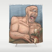 cyclops Shower Curtains featuring The Cyclops by Ken Coleman