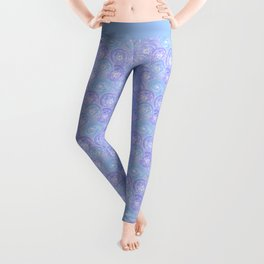Blue and lilac anemones . Leggings