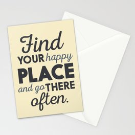 Wanderlust, find your happy place and go there, motivational quote, adventure, globetrotter Stationery Cards