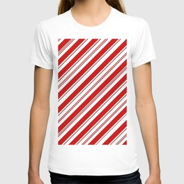 winter holiday xmas red white striped peppermint candy cane T-shirt