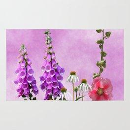 Summer wildflowers on pink Rug