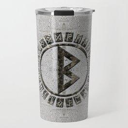 Berkana Rune and Alphabet on Birch Travel Mug