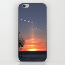 Flying at sunset iPhone Skin
