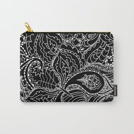 Hand painted abstract black white watercolor floral butterfly Carry-All Pouch