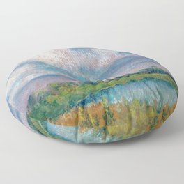 Landscape with lake, fields, forest and blue sky drawing by pastel Floor Pillow