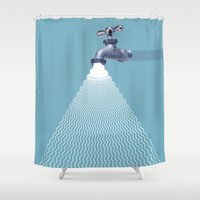 sia Shower Curtains featuring Waterfall by Shkvarok