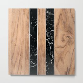 Wood Grain Stripes Black Granite #175 Metal Print