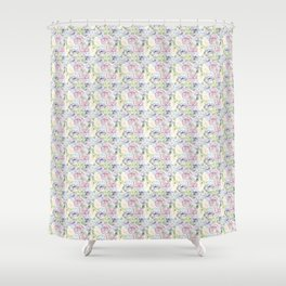 Roses & Forget Me Nots Purple Lace Shower Curtain
