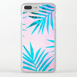 Refreshing Geometric Palm Tree Leaves Tropical Chill Design Clear iPhone Case