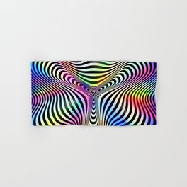 Holographic hypnotic pattern. Colorful iridescent effect. Hand & Bath Towel