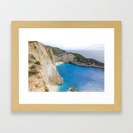 Navagio Beach with Shipwreckon Zakynthos Island, Greece Framed Art Print