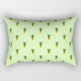 Green Pineapple Gingham Patterned Print Rectangular Pillow