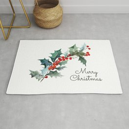 Holly Branch Merry Christmas  Rug