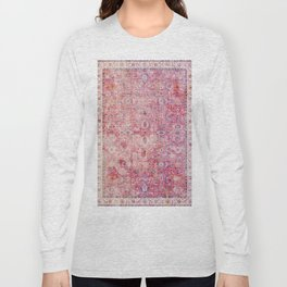 N45 - Pink Vintage Traditional Moroccan Boho & Farmhouse Style Artwork. Long Sleeve T-shirt