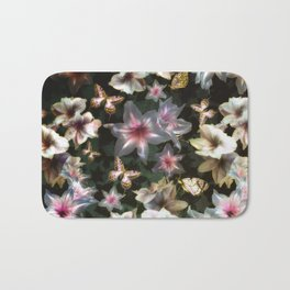 Amaryllis and Butterflies Bath Mat