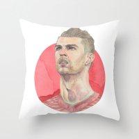 ronaldo Throw Pillows featuring Ronaldo by Megan Diño