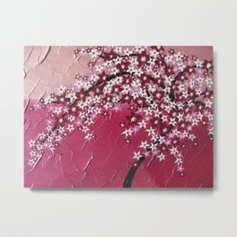 pretty pink art with aJapanese cherry blossom tree in zen style Metal Print