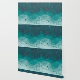 Stars factory, teal mountains house watercolor landscape Wallpaper