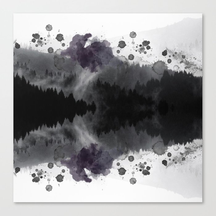 Watercolor forest reflections -abstract Canvas Print