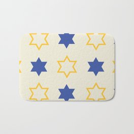 Star of David Yellow and  Blue on Cream background Bath Mat