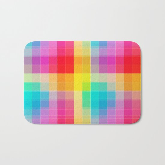 Rainbow grid Bath Mat