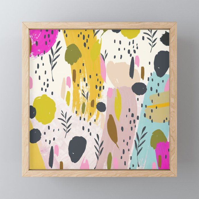 Expression: Colorful Abstract Art Playful Floral Pattern Framed Mini Art Print