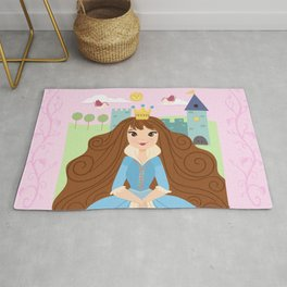 Fairy Tale Princess With Her Story Book Castle - Blue Dress Rug