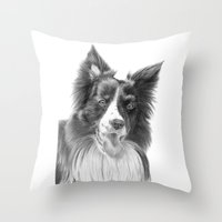 border collie Throw Pillows featuring Border collie 3 by Doggyshop