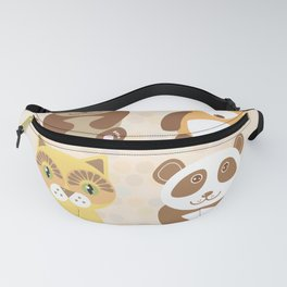 Funny cute raccoon, panda, fox, cat on dot background. Fanny Pack
