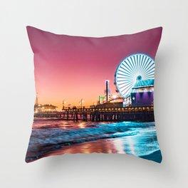 Santa Monica's Pacific Wheel Sunset (Pacific Park) Throw Pillow