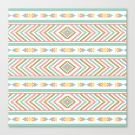 Abstract Tribal Native Geometric Pattern - Bohemian Festival Colorful Canvas Print