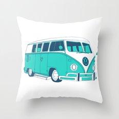 Blue Camper Van Throw Pillow