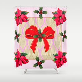 RED RIBBON BOW HOLLY BERRIES CHRISTMAS POINSETTIAS Shower Curtain