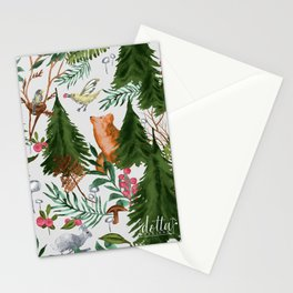 Light Winter Forest Animals Stationery Cards
