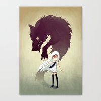 dog Canvas Prints featuring Werewolf by Freeminds