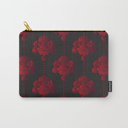 Red damask flowers and pearls on dark background Carry-All Pouch