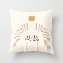 Geometric Lines in Terracotta and Beige 14 (Rainbow and Sun Abstract) Throw Pillow