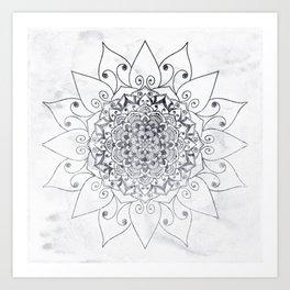 ELEGANT MANDALA IN GRAY Art Print
