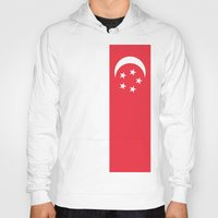 singapore Hoodies featuring Flag of Singapore by Neville Hawkins