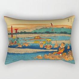 Porters Carry Travelers at Kanaya Japan Rectangular Pillow